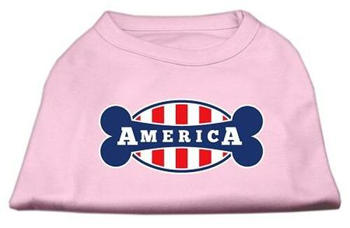 Bonely In America Screen Print Shirt Light Pink Lg (14)