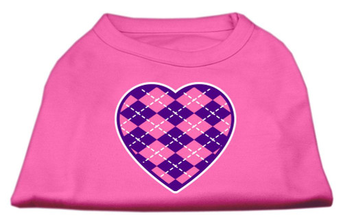 Argyle Heart Purple Screen Print Shirt Bright Pink Lg (14)