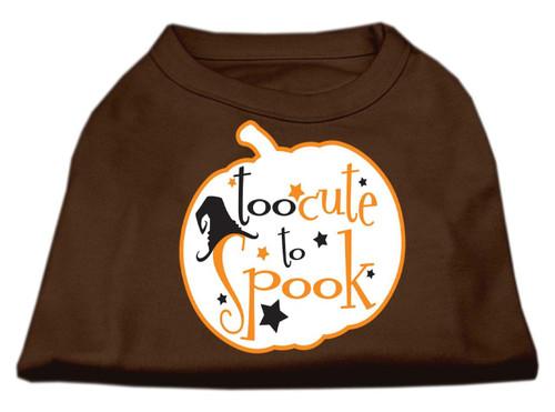 Too Cute To Spook Screen Print Dog Shirt Brown Xs (8)