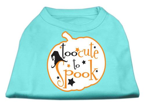 Too Cute To Spook Screen Print Dog Shirt Aqua Xs (8)