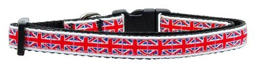 Tiled Union Jack(uk Flag) Nylon Ribbon Collar Small