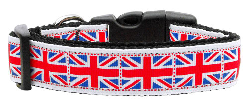 Tiled Union Jack(uk Flag) Nylon Ribbon Collar Medium