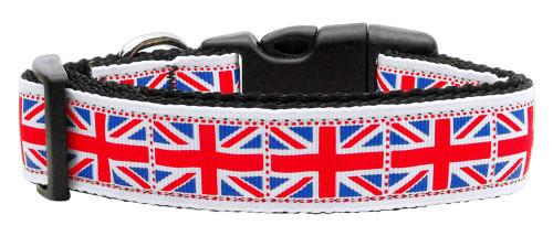 Tiled Union Jack(uk Flag) Nylon Ribbon Collar Large