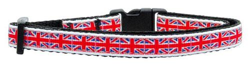 Tiled Union Jack(uk Flag) Nylon Ribbon Collar Cat Safety