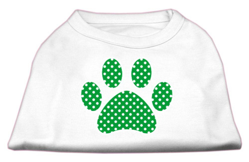 Green Swiss Dot Paw Screen Print Shirt White S (10)
