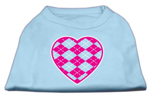 Argyle Heart Pink Screen Print Shirt Baby Blue Xl (16)