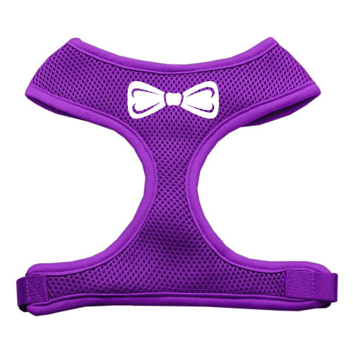 Bow Tie Screen Print Soft Mesh Harness Purple Small