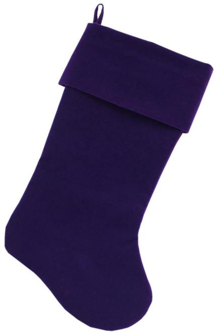 Plain Velvet 18 Inch Christmas Stocking Purple