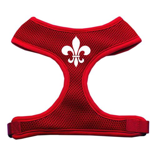 Fleur De Lis Design Soft Mesh Harnesses Red Medium