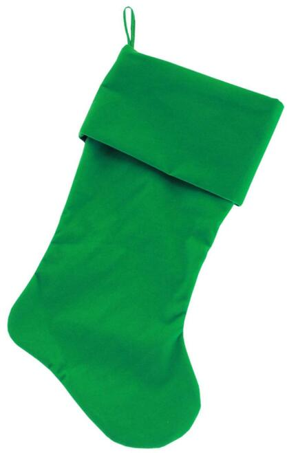 Plain Velvet 18 Inch Christmas Stocking Green