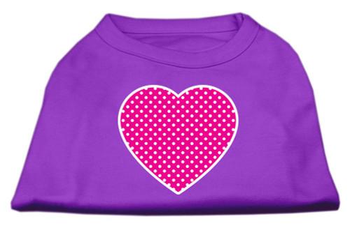 Pink Swiss Dot Heart Screen Print Shirt Purple Xl (16)