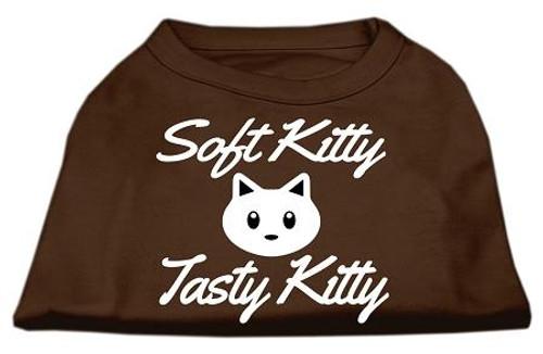 Softy Kitty, Tasty Kitty Screen Print Dog Shirt Brown Sm (10)