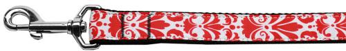Damask Nylon Dog Leash 4 Foot Red