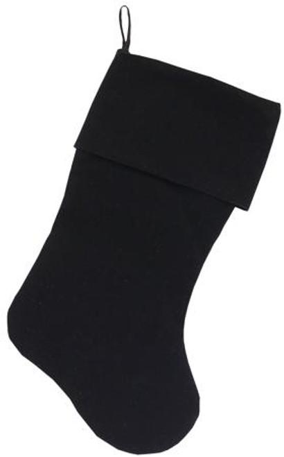 Plain Velvet 18 Inch Christmas Stocking Black