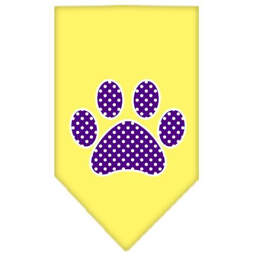 Purple Swiss Dot Paw Screen Print Bandana Yellow Large