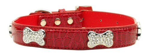 Faux Croc Crystal Bone Collars Red Large