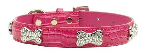 Faux Croc Crystal Bone Collars Pink Large