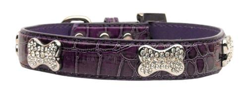 Faux Croc Crystal Bone Collars Purple Large