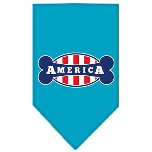 Bonely In America Screen Print Bandana Turquoise Small