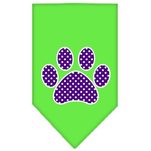 Purple Swiss Dot Paw Screen Print Bandana Lime Green Large