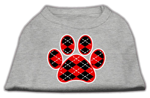 Argyle Paw Red Screen Print Shirt Grey Xxl (18)
