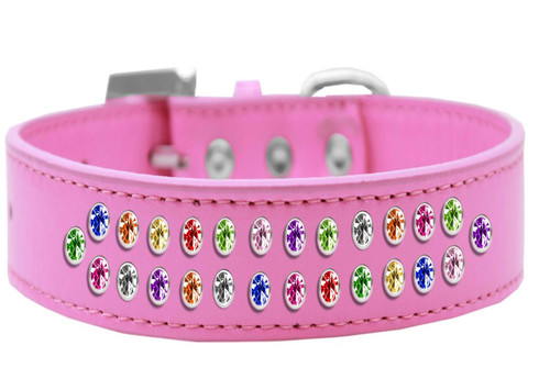 Two Row Confetti Crystal Size 20 Bright Pink Dog Collar