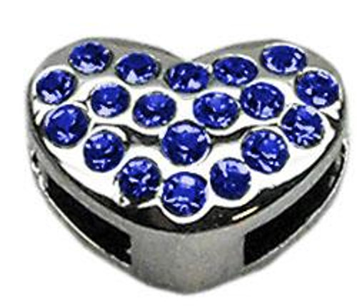 "3/8"" Slider Puffy Heart Charm Blue"