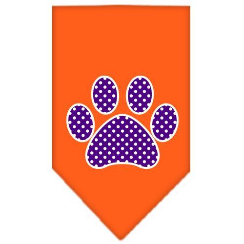 Purple Swiss Dot Paw Screen Print Bandana Orange Large
