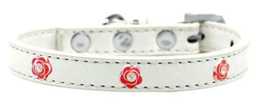 Red Rose Widget Dog Collar White Size 16
