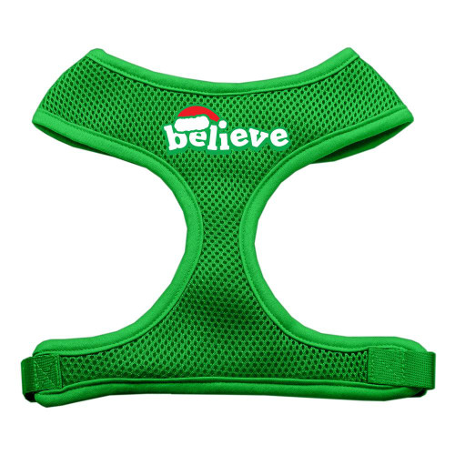 Believe Screen Print Soft Mesh Harnesses  Emerald Green Small