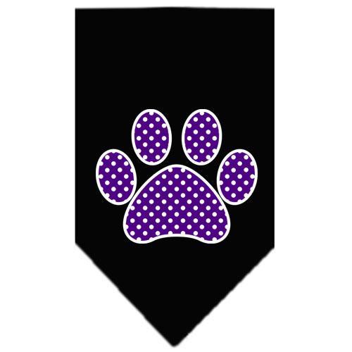 Purple Swiss Dot Paw Screen Print Bandana Black Large