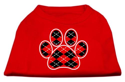 Argyle Paw Red Screen Print Shirt Red Xxl (18)