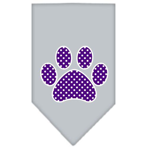 Purple Swiss Dot Paw Screen Print Bandana Grey Large
