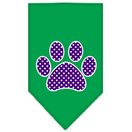 Purple Swiss Dot Paw Screen Print Bandana Emerald Green Large