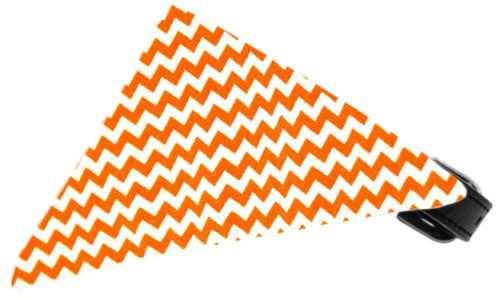 Orange Chevron Bandana Pet Collar Black Size 12