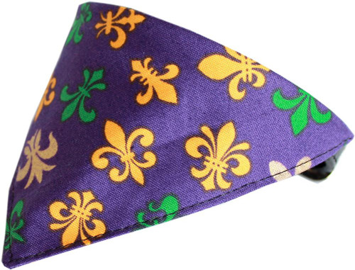 Mardi Gras Fleur De Lis Bandana Pet Collar  Black Size 10