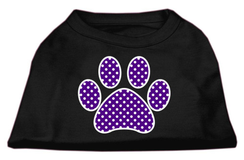 Purple Swiss Dot Paw Screen Print Shirt Black Xs (8)