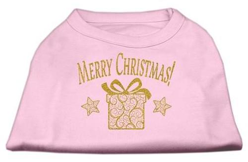Golden Christmas Present Dog Shirt Light Pink Sm (10)