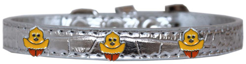 Chickadee Widget Croc Dog Collar Silver Size 14