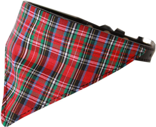 Red Plaid Bandana Pet Collar Black Size 20