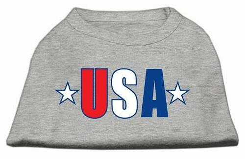 Usa Star Screen Print Shirt Grey Lg (14)