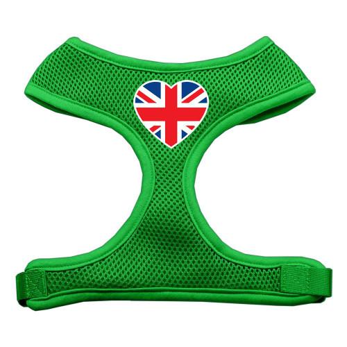 Heart Flag Uk Screen Print Soft Mesh Harness Emerald Green Large