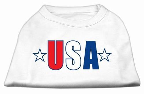 Usa Star Screen Print Shirt White Lg (14)