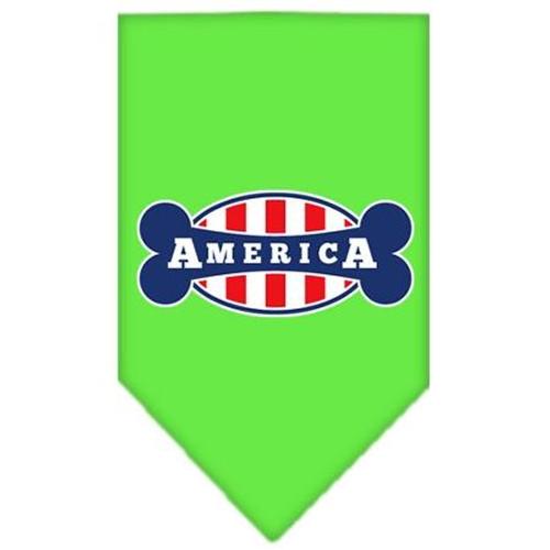 Bonely In America Screen Print Bandana Lime Green Small