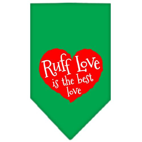 Ruff Love Screen Print Bandana Emerald Green Small