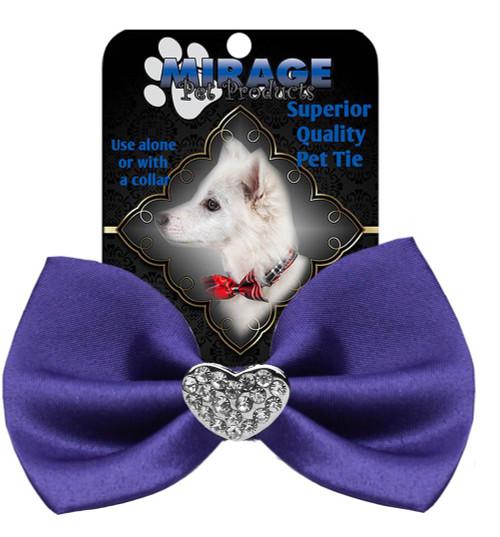 Crystal Heart Widget Pet Bowtie Purple