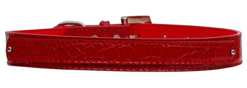 18mm  Two Tier Faux Croc Collar Red Large - 18-01 LGRDC