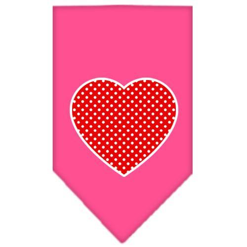 Red Swiss Dot Heart Screen Print Bandana Bright Pink Small