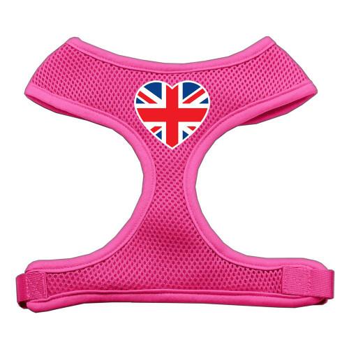 Heart Flag Uk Screen Print Soft Mesh Harness Pink Large