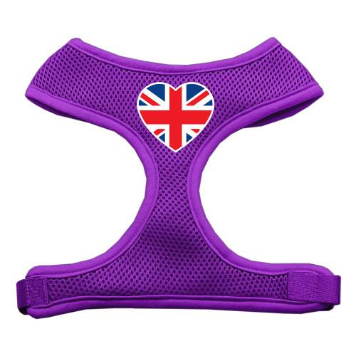 Heart Flag Uk Screen Print Soft Mesh Harness Purple Large